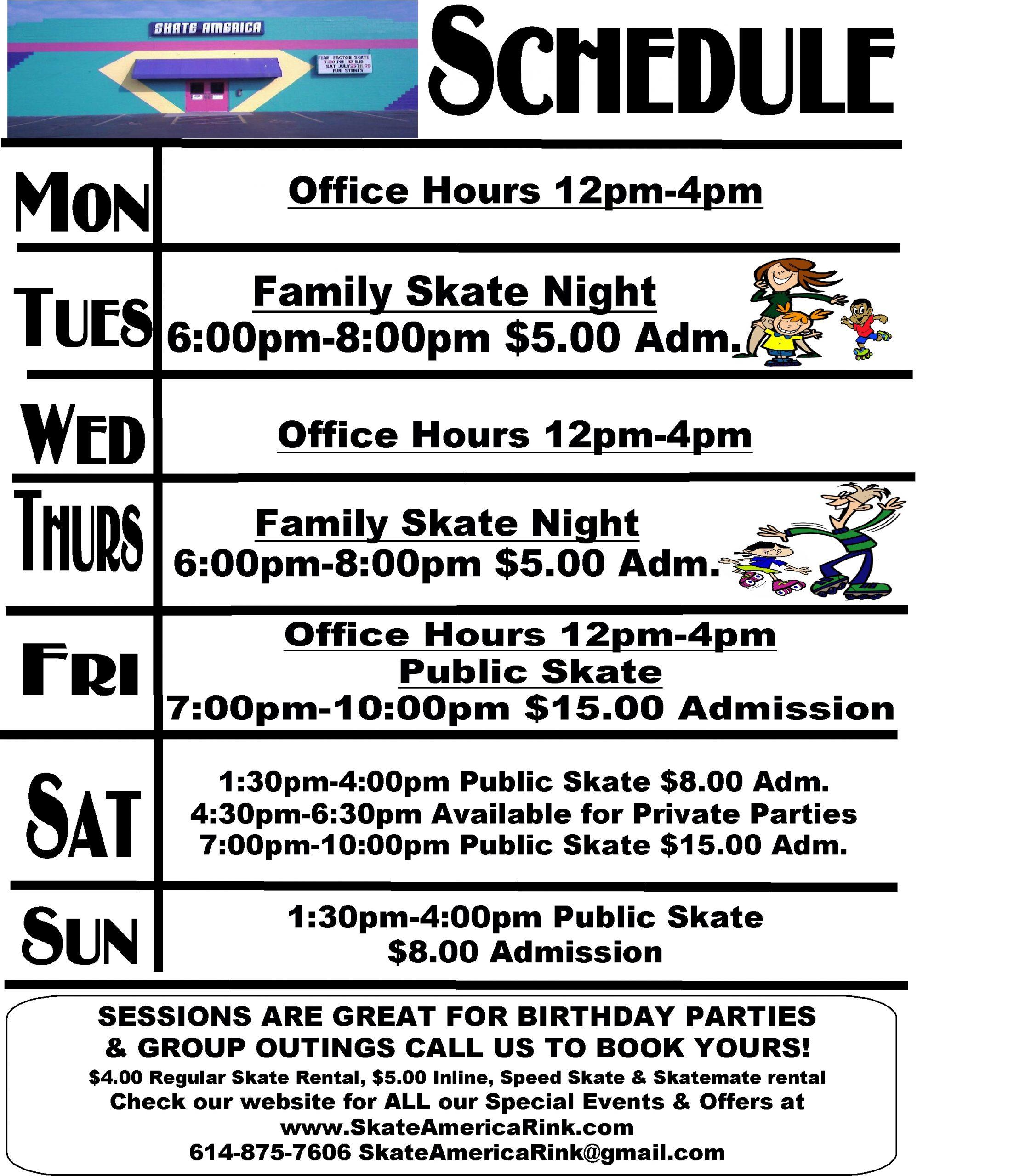 Schedule 2021 - Skate America